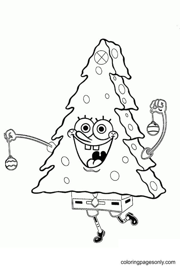 Spongebob As Christmas Tree Coloring Page