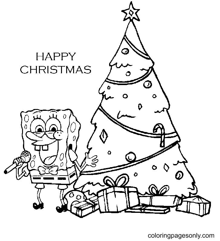 Spongebob Christmas Tree Coloring Page
