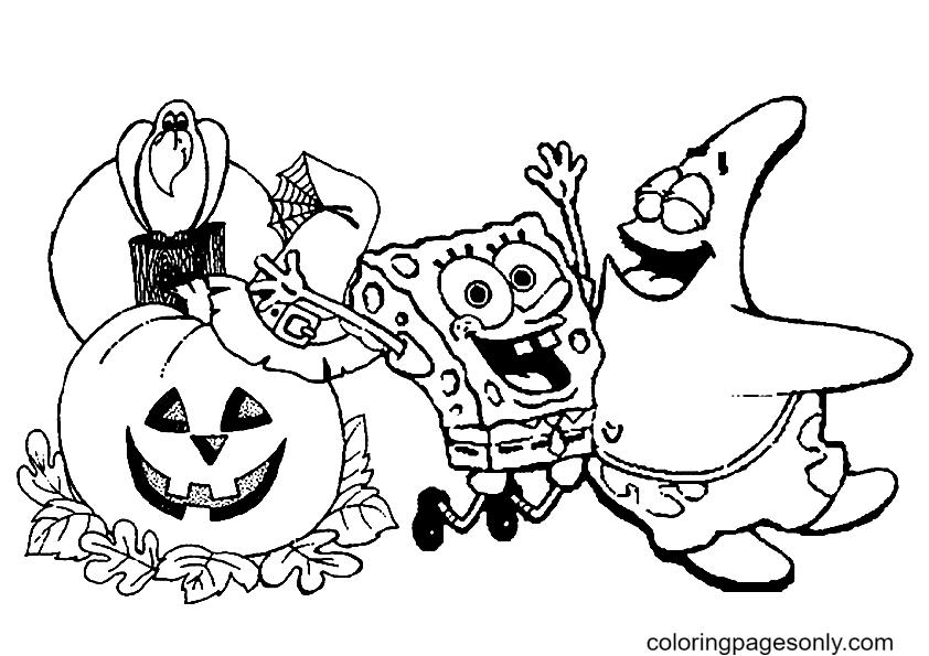 Spongebob Happy Halloween Coloring Page