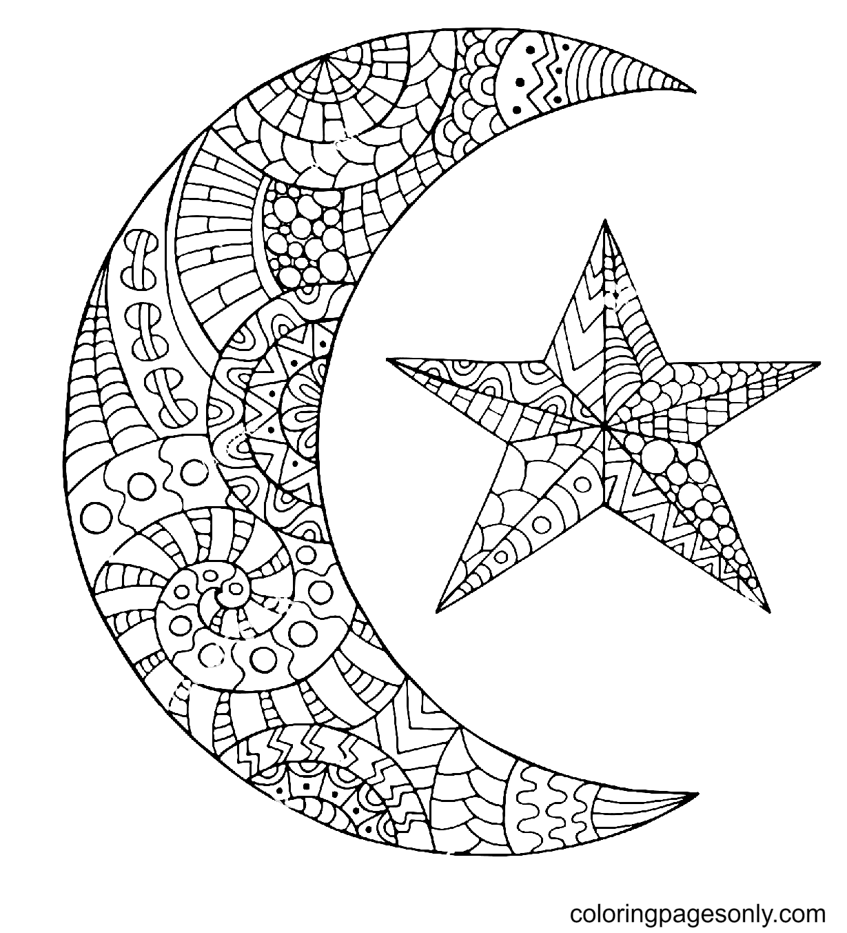 Star & Moon Coloring Page