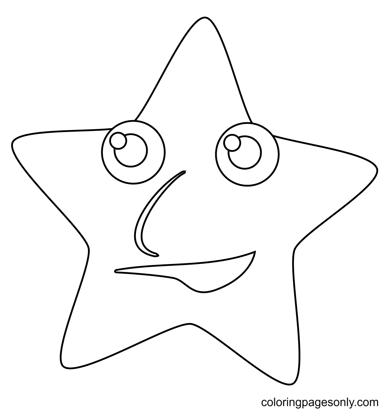 Star with Face Coloring Page