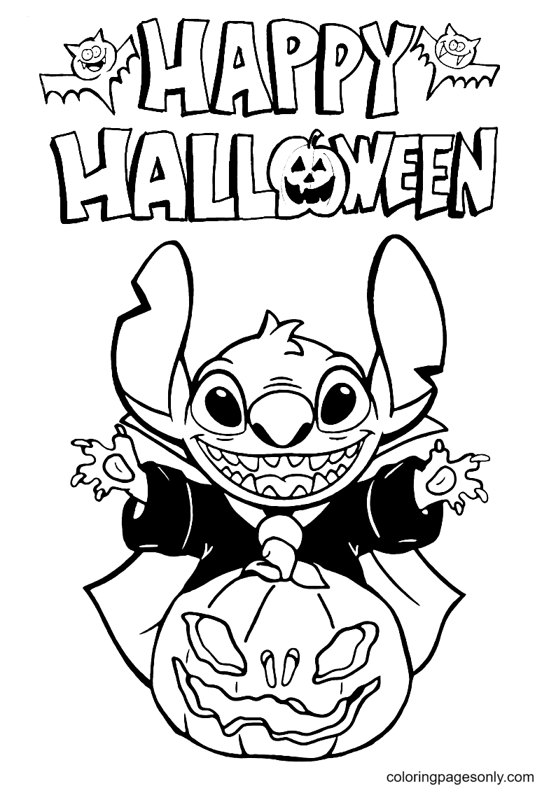 Stitch Happy Halloween Coloring Page