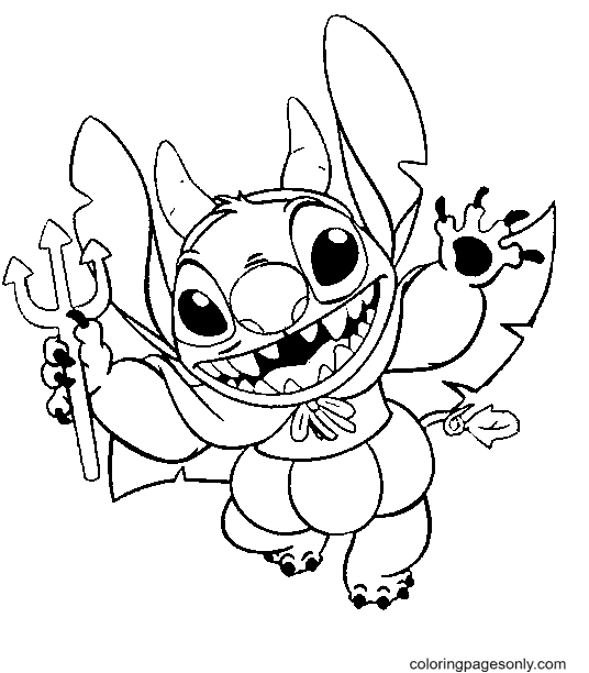 Stitch on Hallween Coloring Page