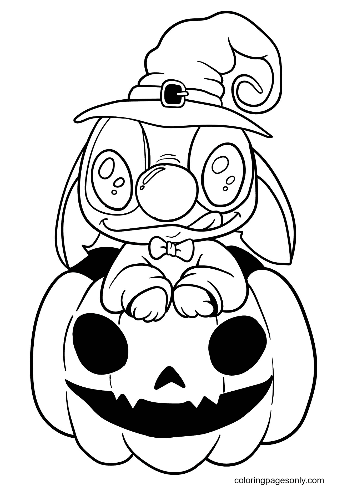 Stitch on Pumpkin Coloring Page
