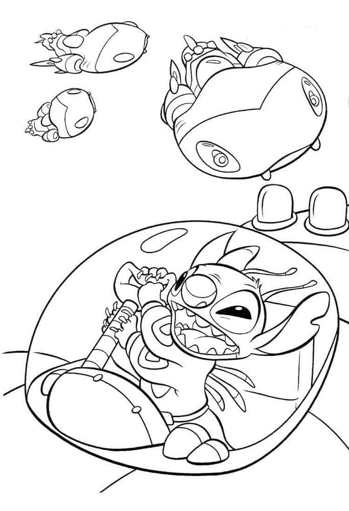 Stitch on a Spaceship Coloring Page