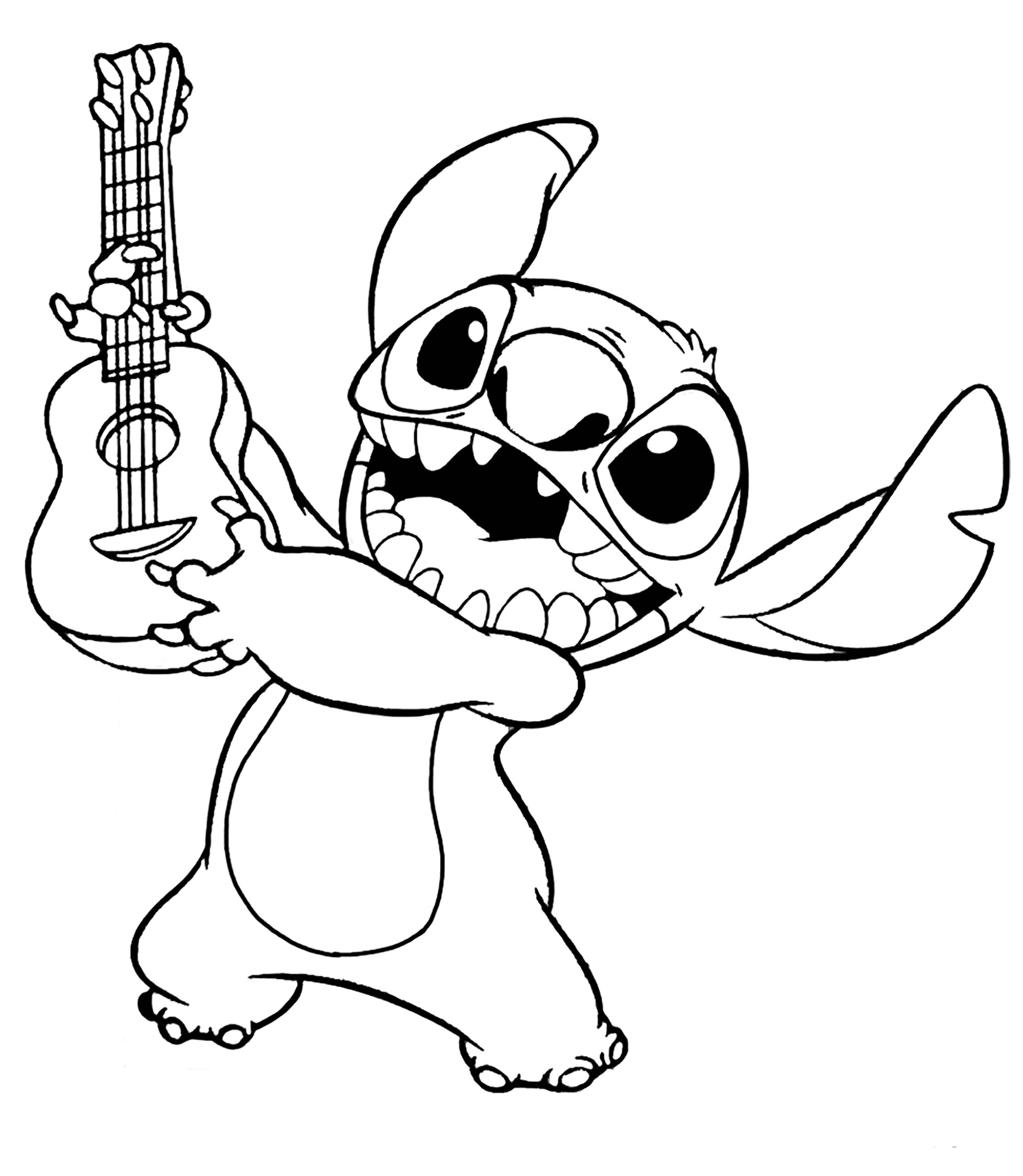 Stitch with Guitar Coloring Page