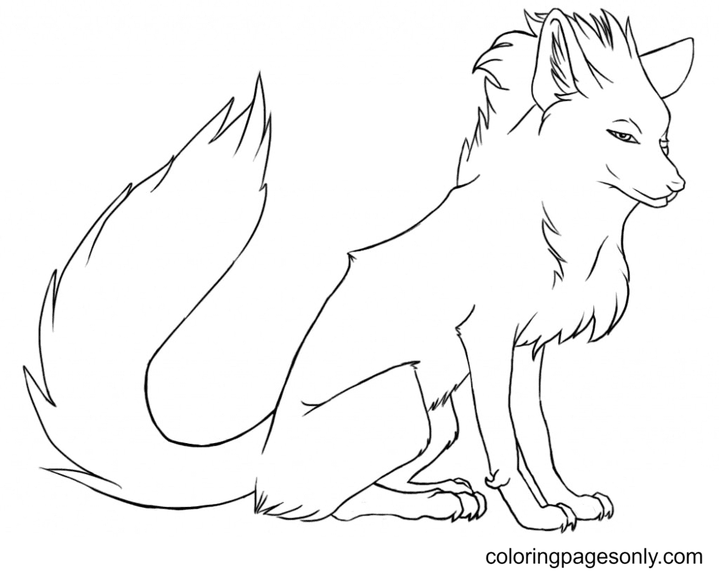 Stylish Fox Coloring Page