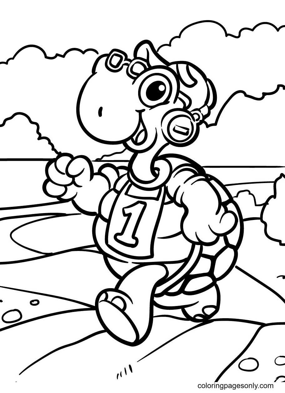 Stylish Turtle With Headphones Coloring Page