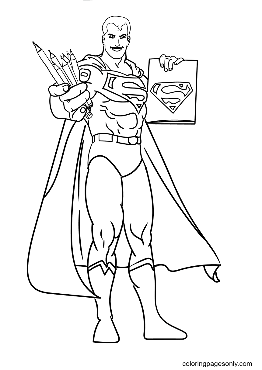 Superman Inviting You to a Colouing Coloring Page