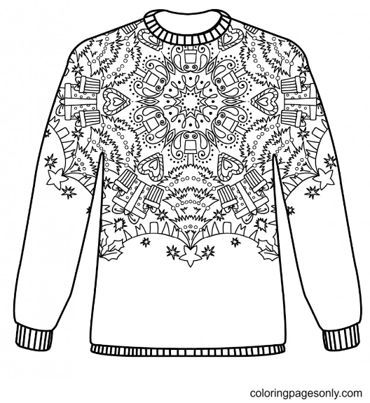 Sweater with Christmas Tree and Gifts Coloring Page