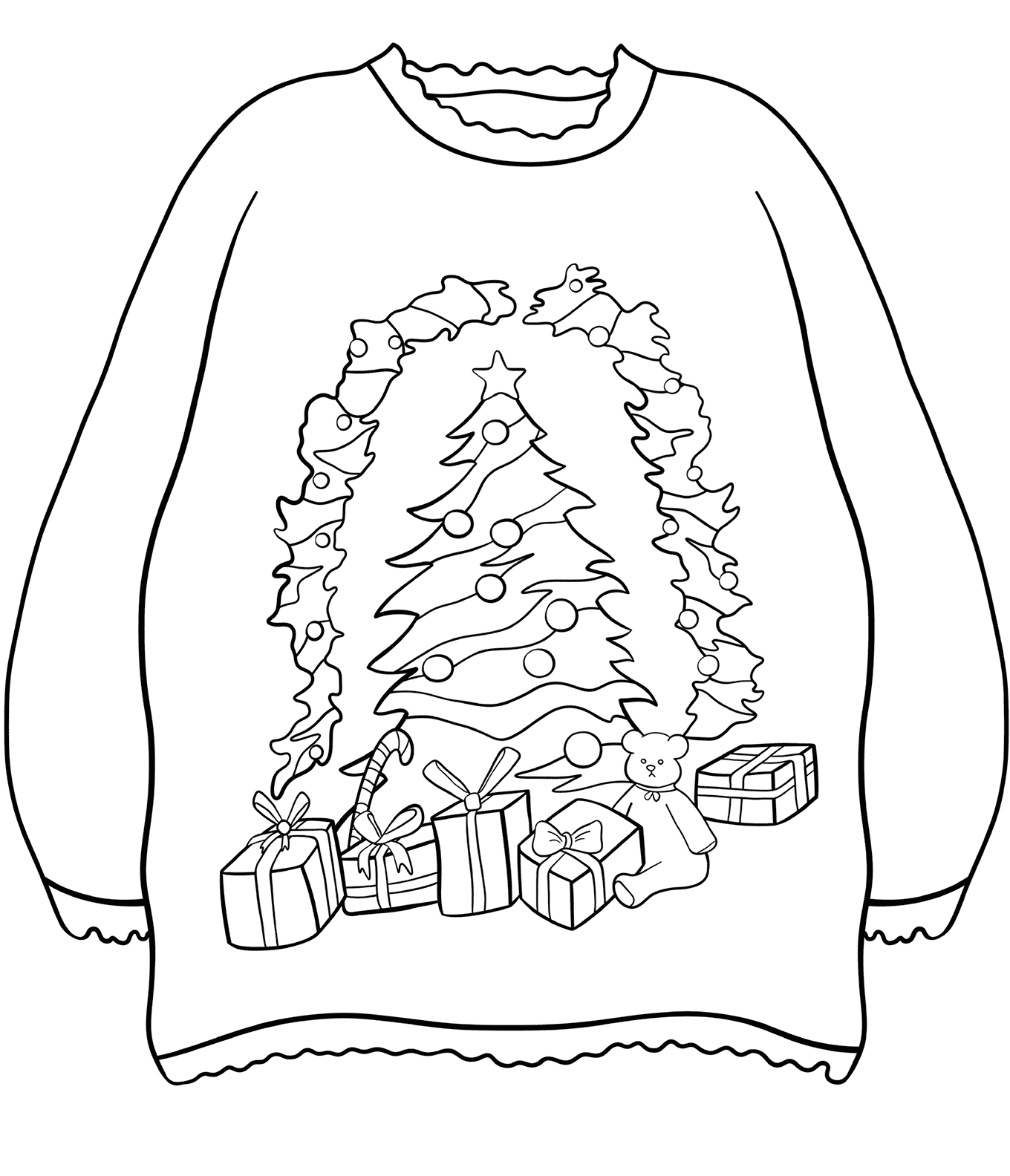 Sweater with Christmas Tree and Presents Coloring Page