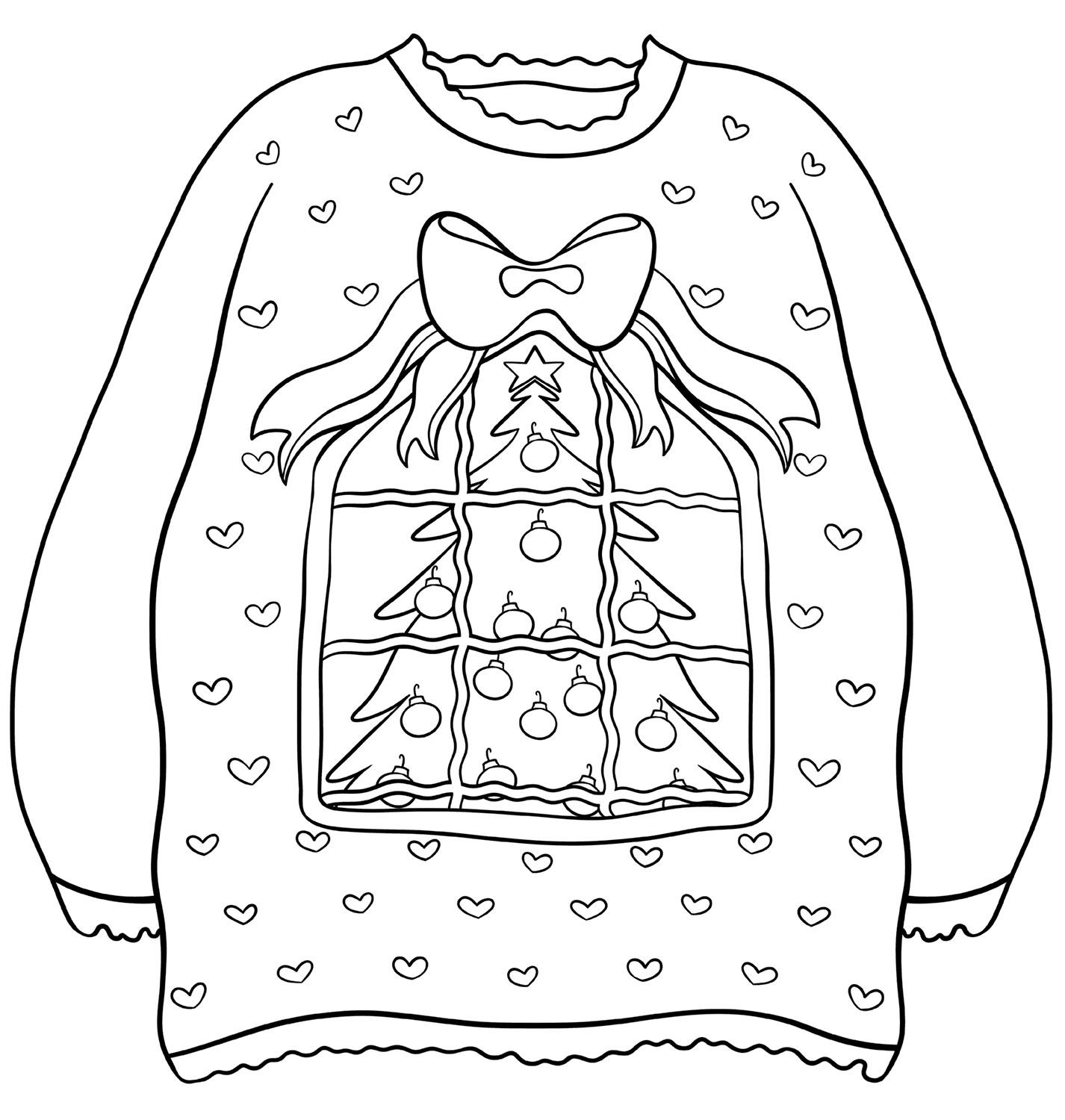 Sweater with Christmas Tree Coloring Page