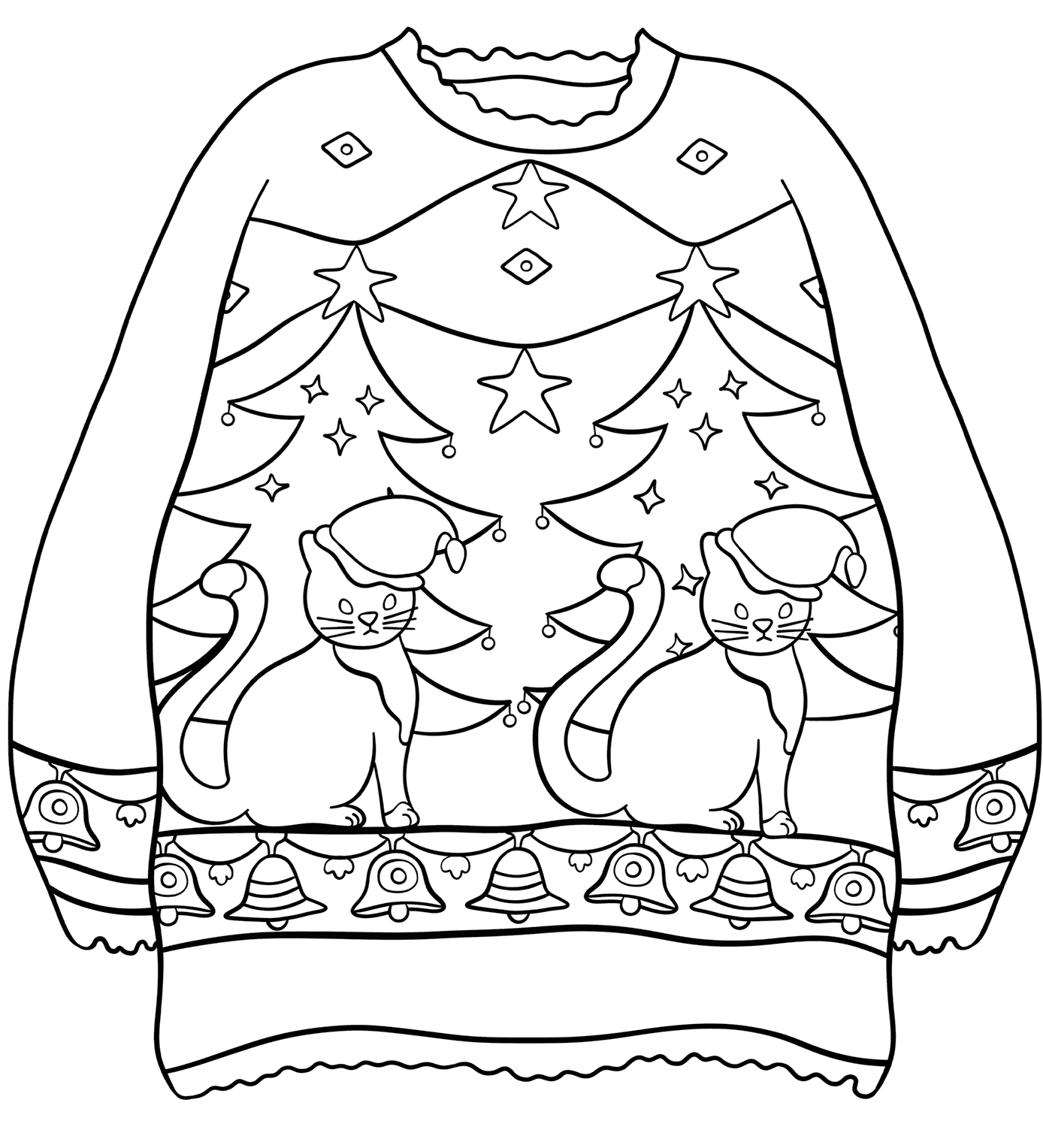 Sweater with Christmas Trees and Cats Coloring Page
