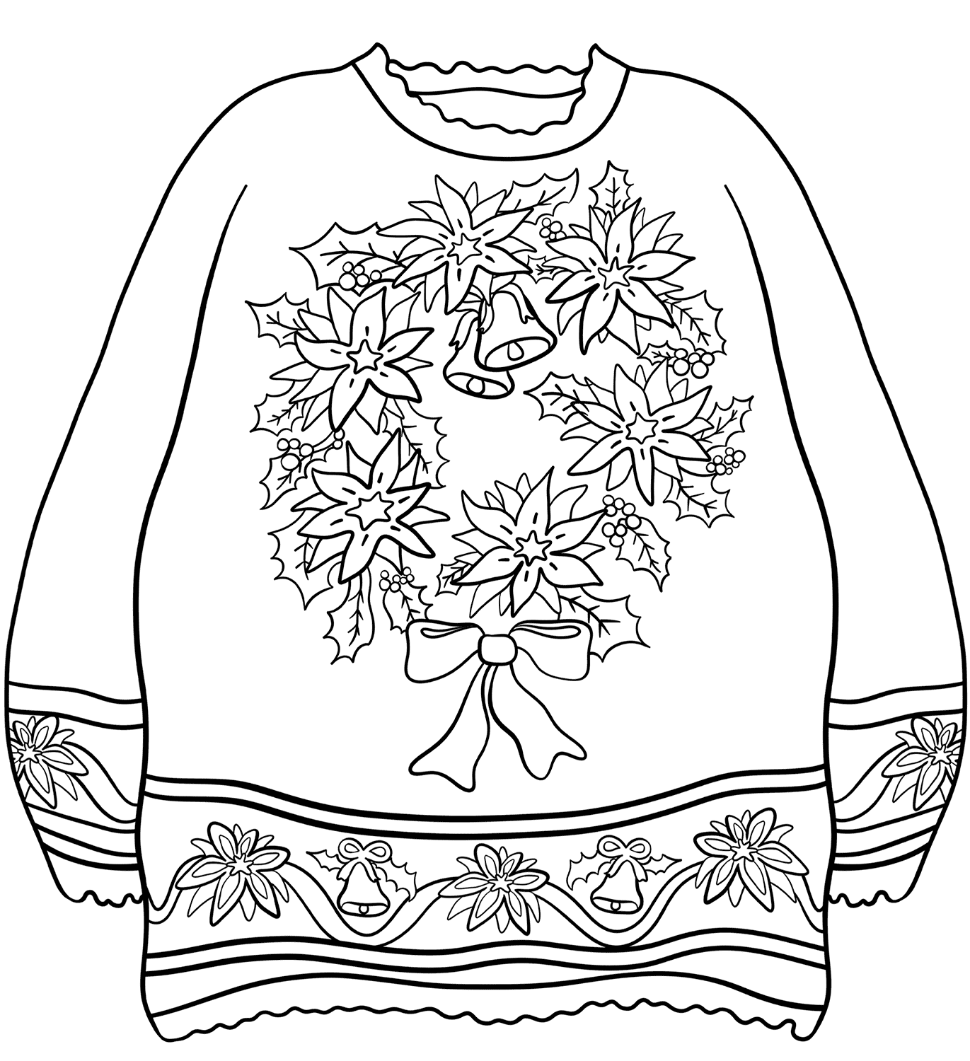 Sweater with Christmas Wreath Coloring Page