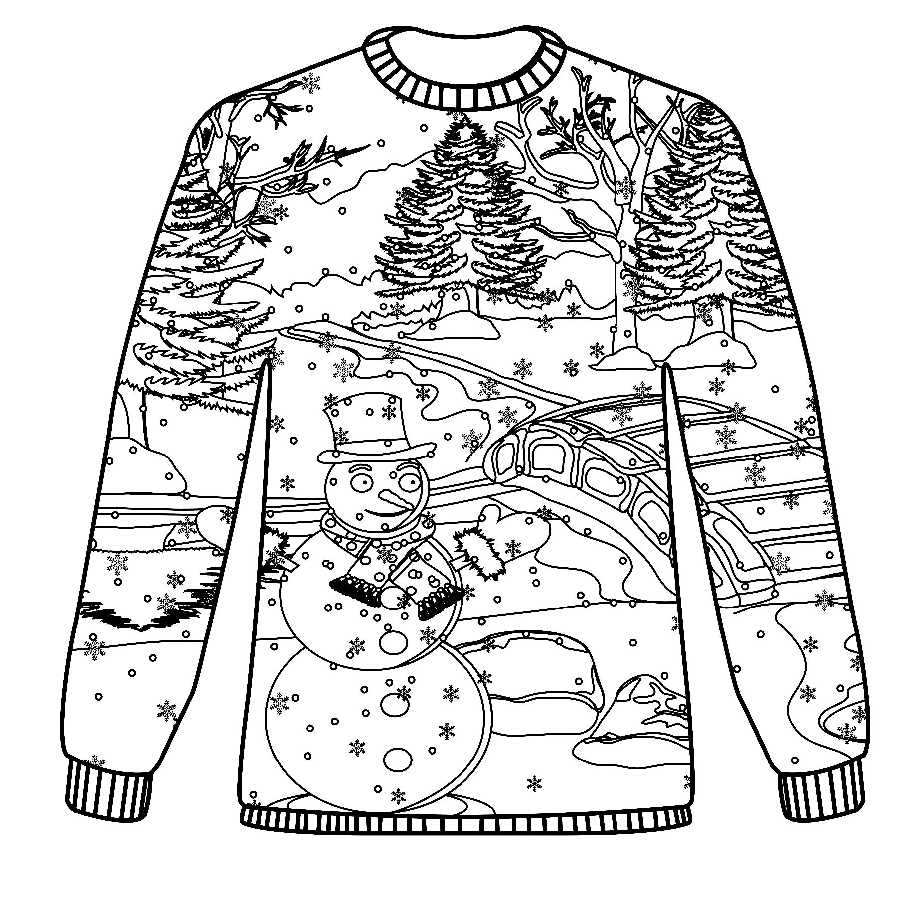 Sweater with Snowman and Christmas Tree Coloring Page