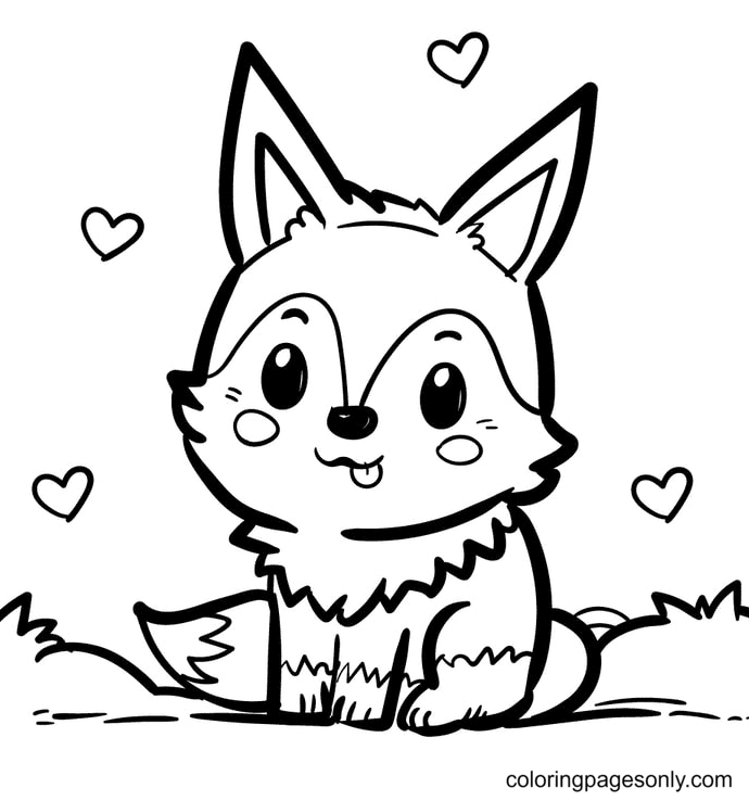 Sweet Fox Coloring Page