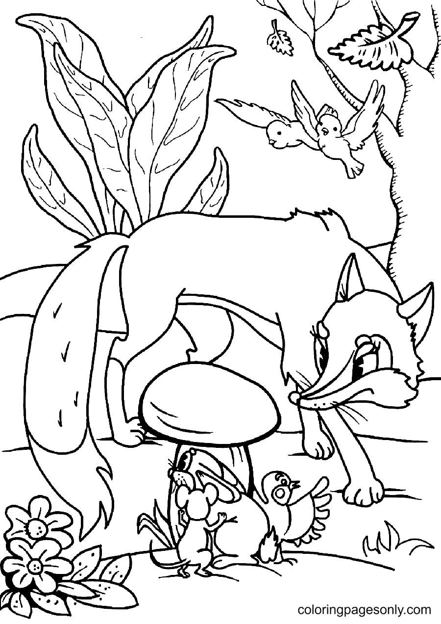 The Beasts are Hiding The Fox Coloring Page