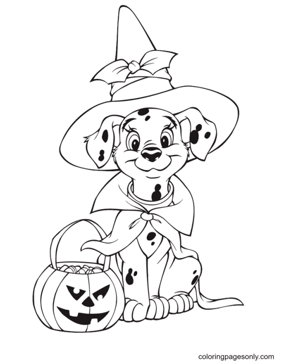 The Dalmatian Celebrating Halloween Coloring Page