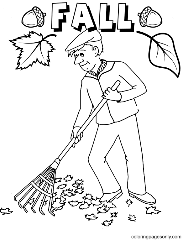 The Man is Sweeping the Leaves Coloring Page