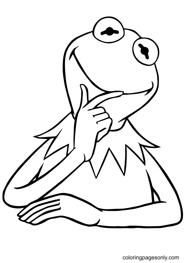 Thinking Frog Coloring Page