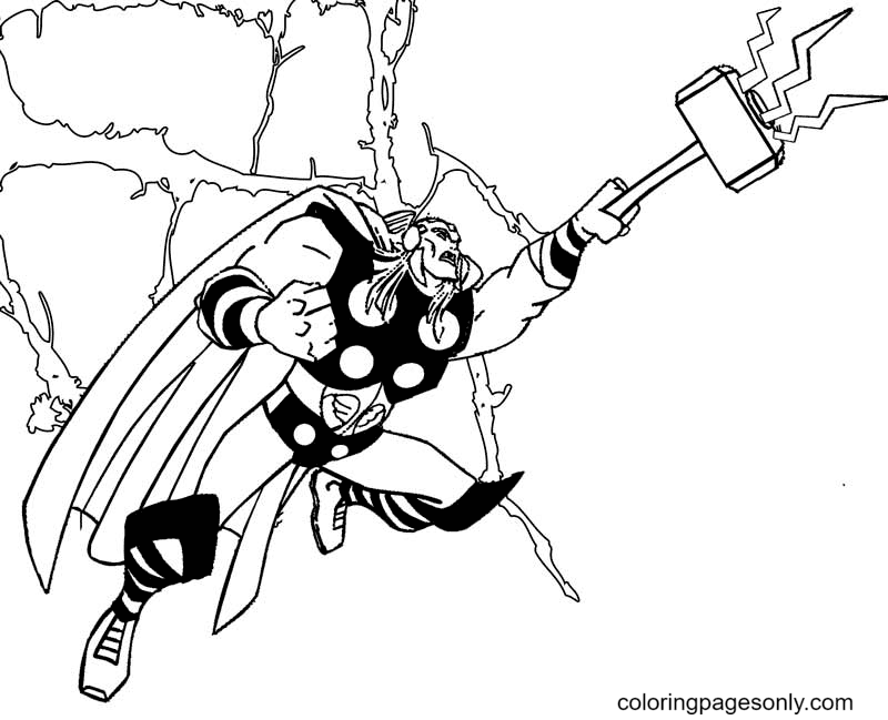 Thor with Hammer Mjolnir Coloring Page