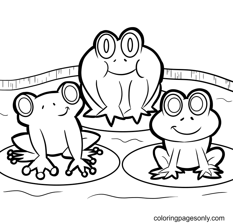 Three Cute Frogs Coloring Page