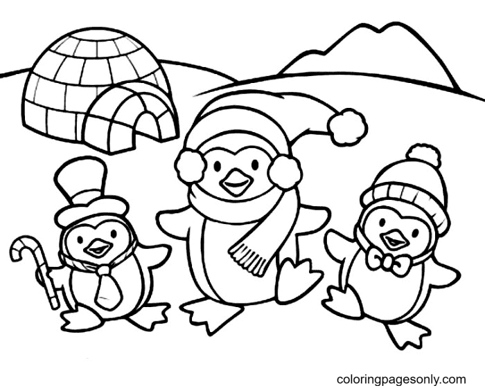 Three Cute Penguins Coloring Page