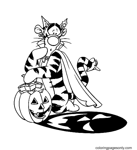 Tigger Disney Halloween Coloring Page