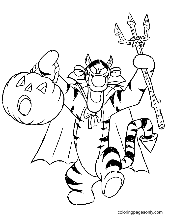 Tigger on Hallween Coloring Page