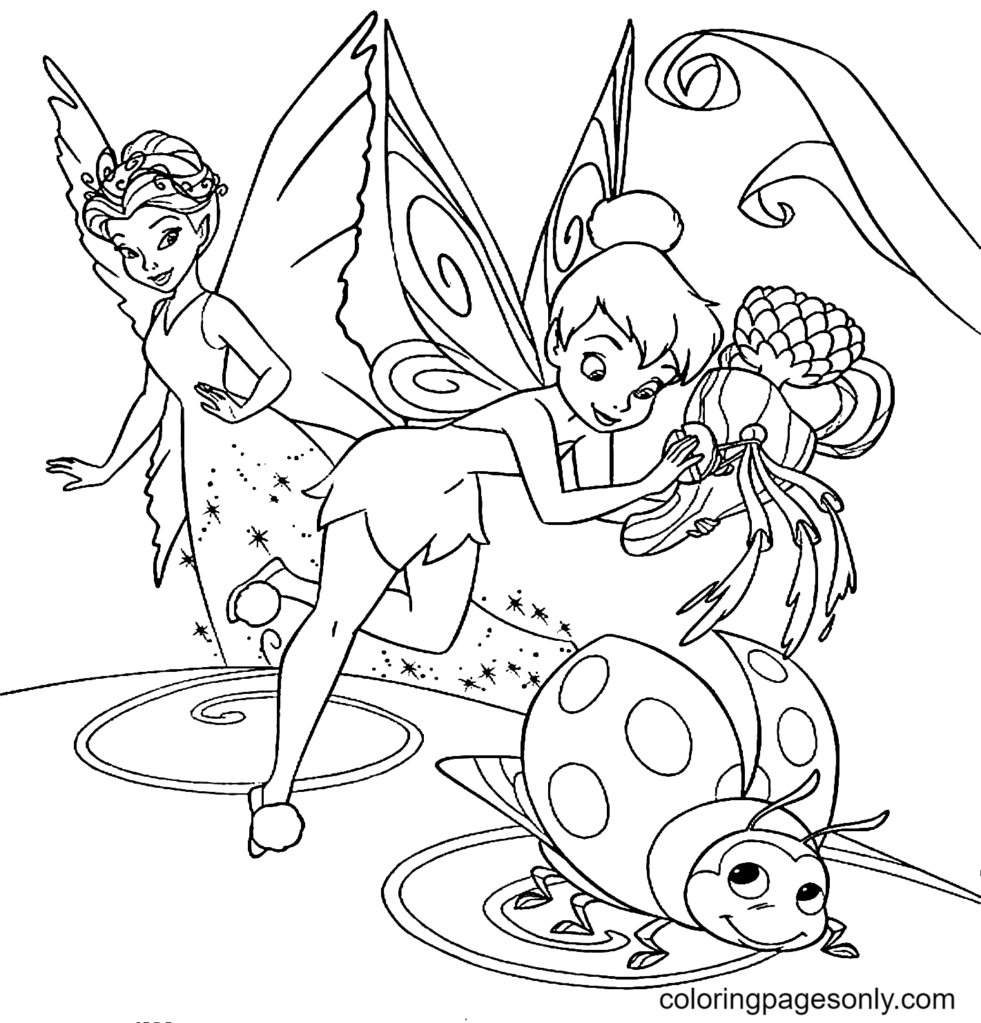 Tinker Bell And Ladybug Coloring Page