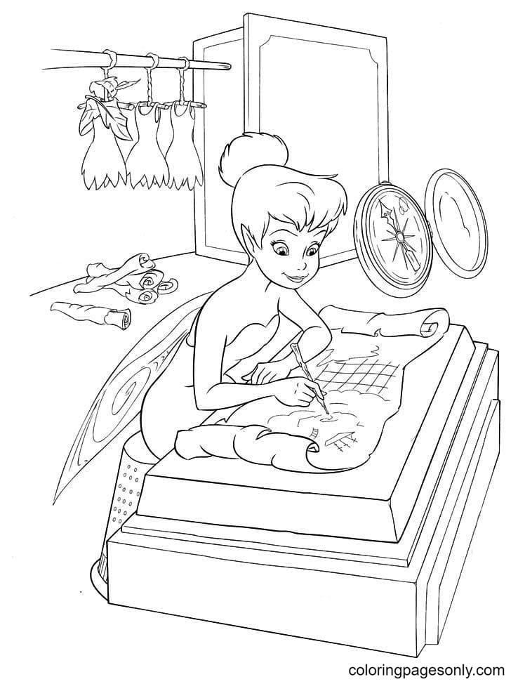 Tinker Bell Builds Hot Air Balloons Coloring Page