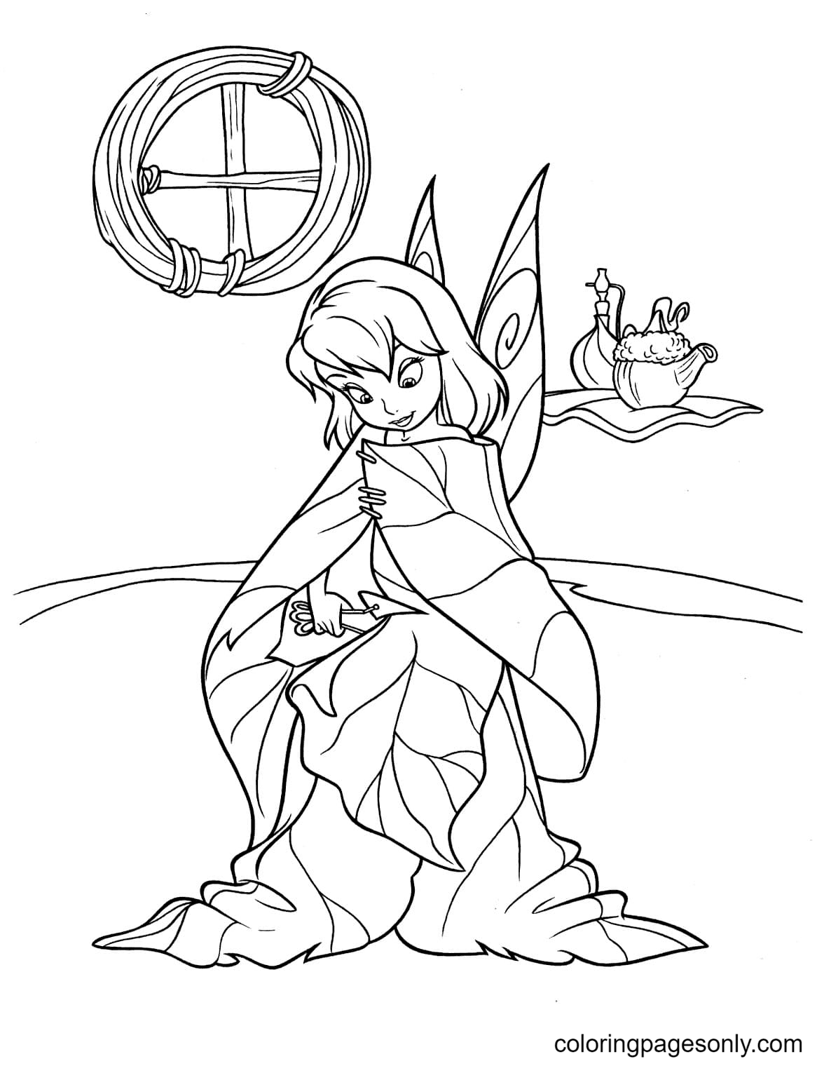 Tinker Bell Crafting Clothing from Leaves Coloring Page