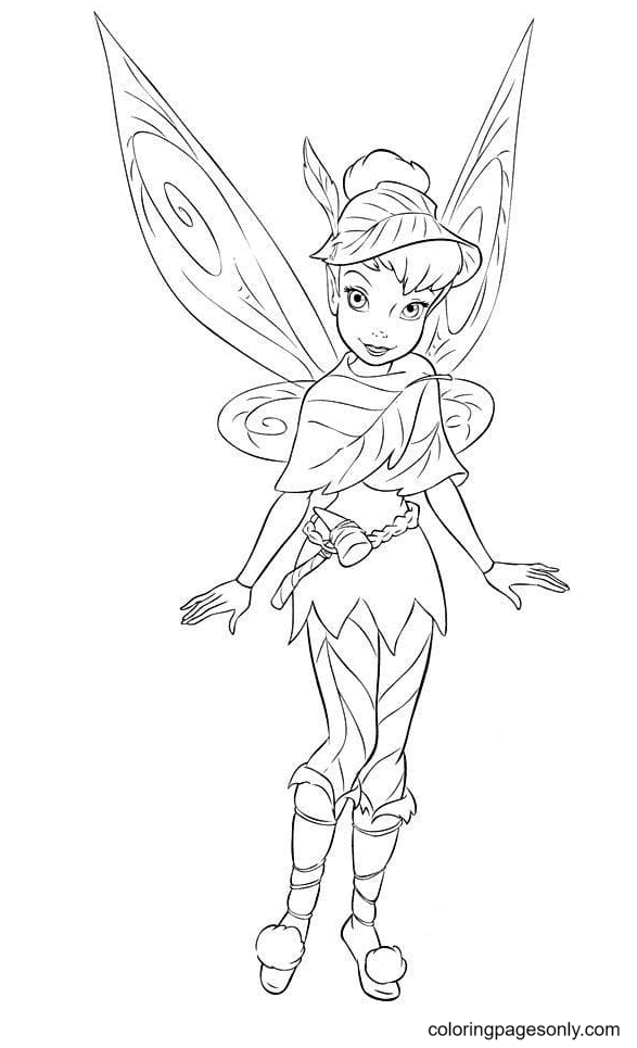 Tinker Bell is Ready for a Journey Coloring Page