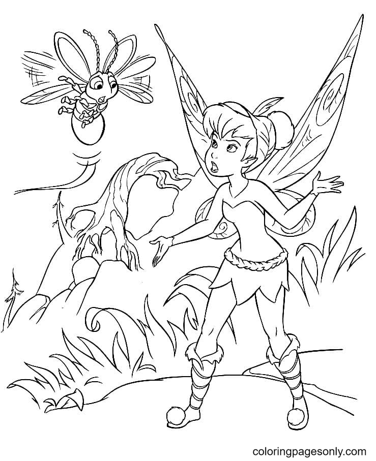 Tinker Bell with Firefly Coloring Page
