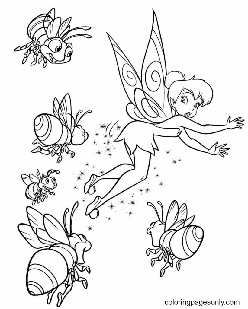 TinkerBell with Fireflies Coloring Page