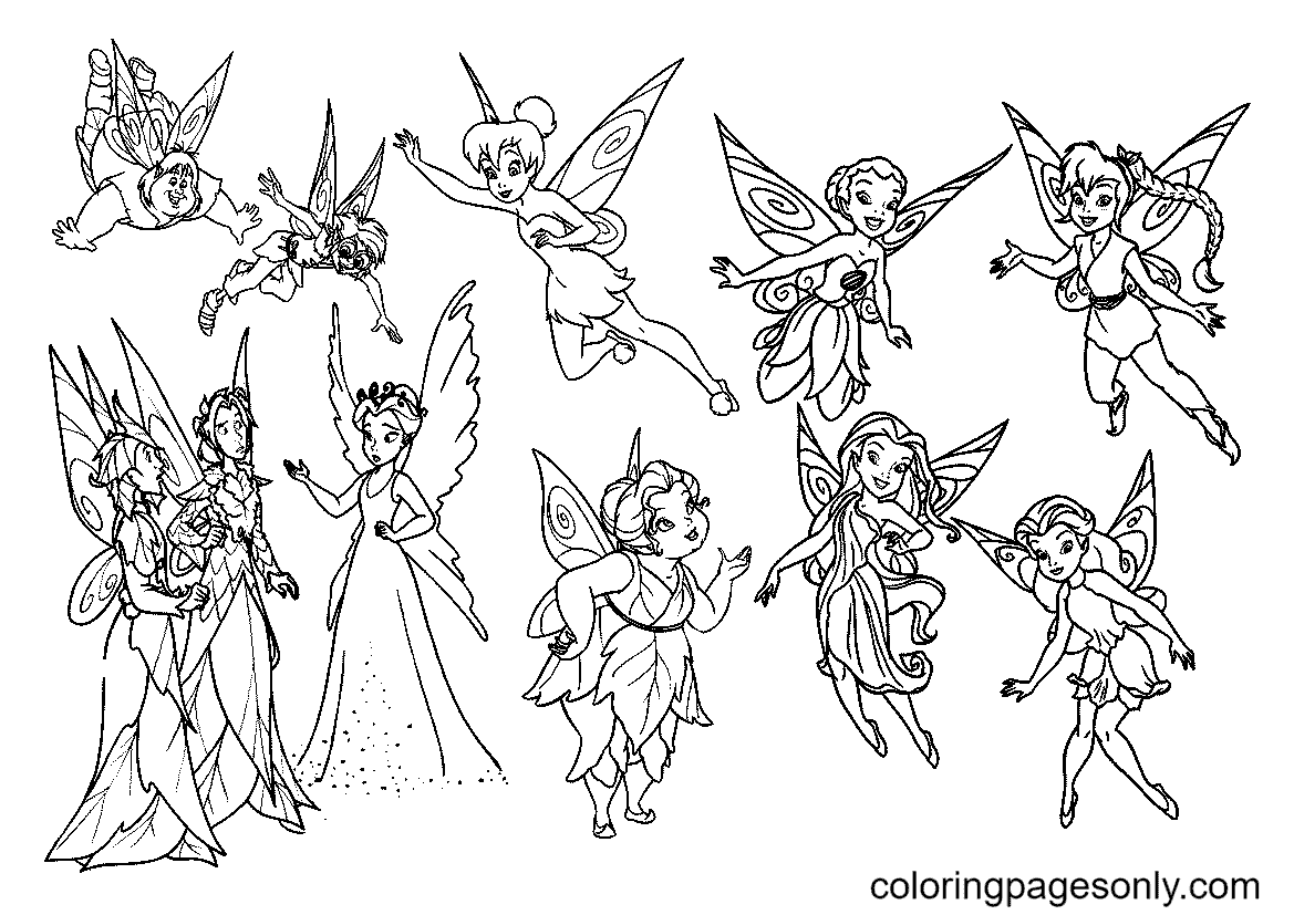 Tinkerbell and Her Fairy Friends Coloring Page