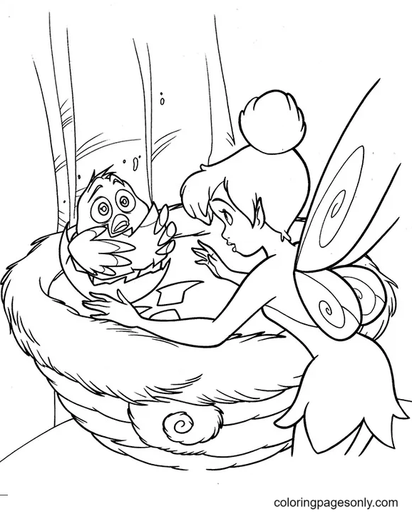 Tinkerbell with Bird Coloring Page