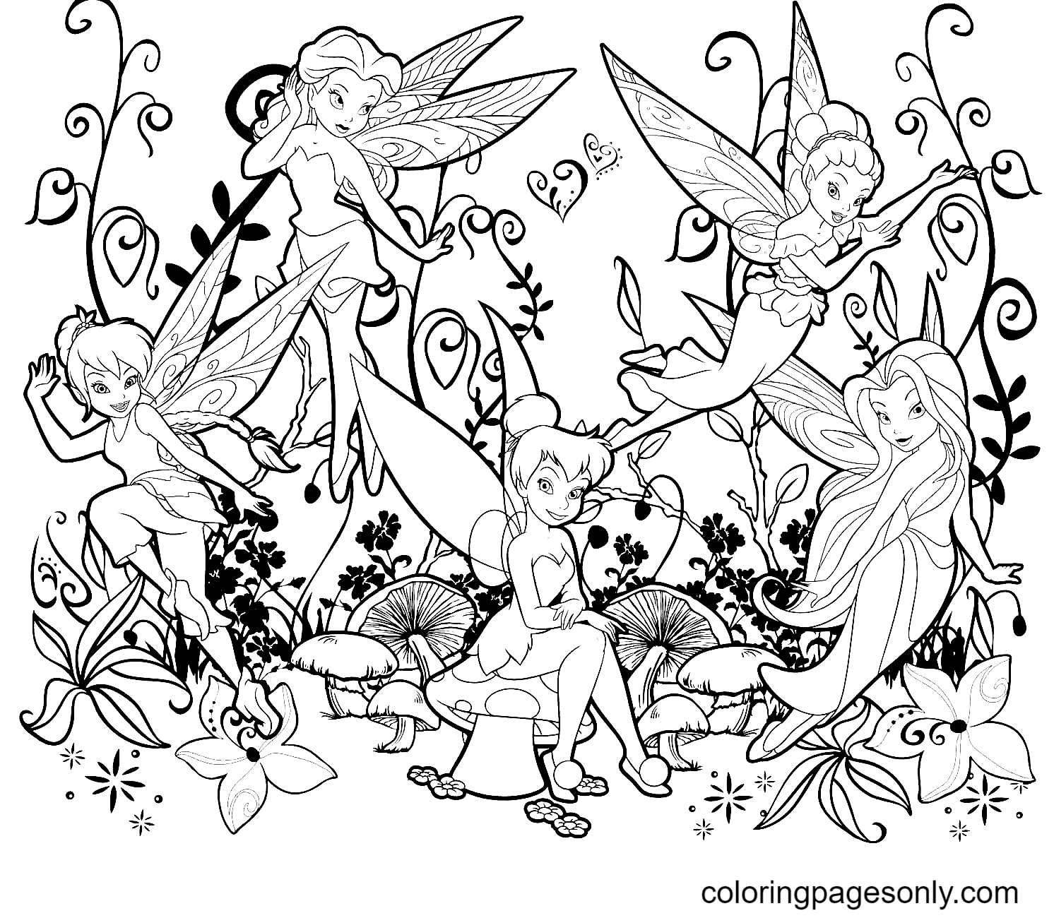 Tinkerbell with Disney Fairy Coloring Page