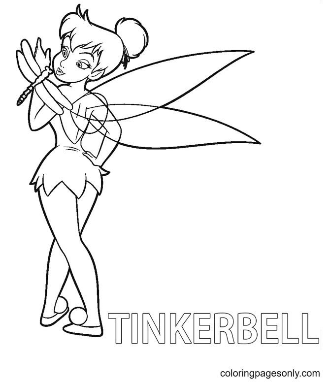 Tinkerbell with Dragonfly Coloring Page