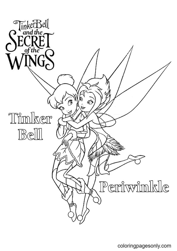 Tinkerbell with Periwinkle Coloring Page
