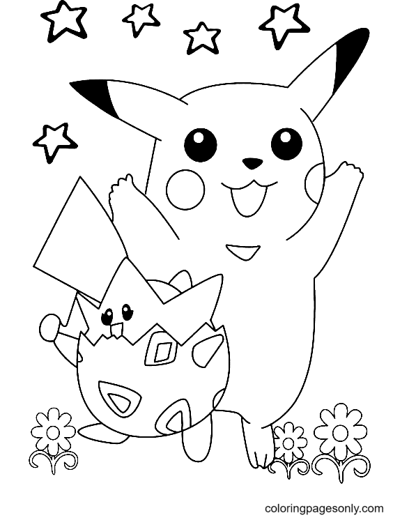 Togepi and Pikachu Coloring Page