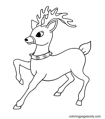 Trusty Reindeer Coloring Page