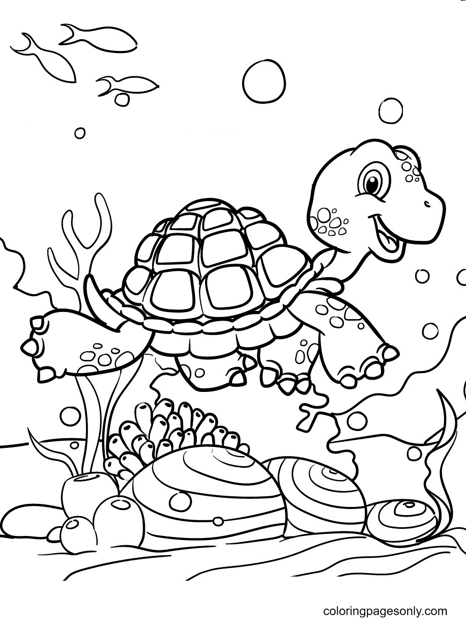 Turtle Adventure in The Ocean Coloring Page