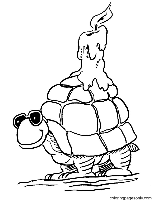 Turtle Becomes A Candlestand Coloring Page