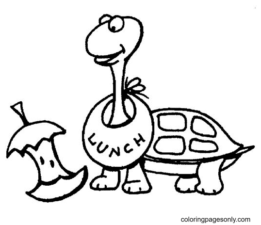Turtle Eating Apple Coloring Page