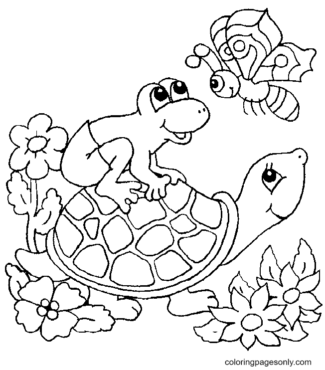 Turtle, Frog and Butterfly Coloring Page