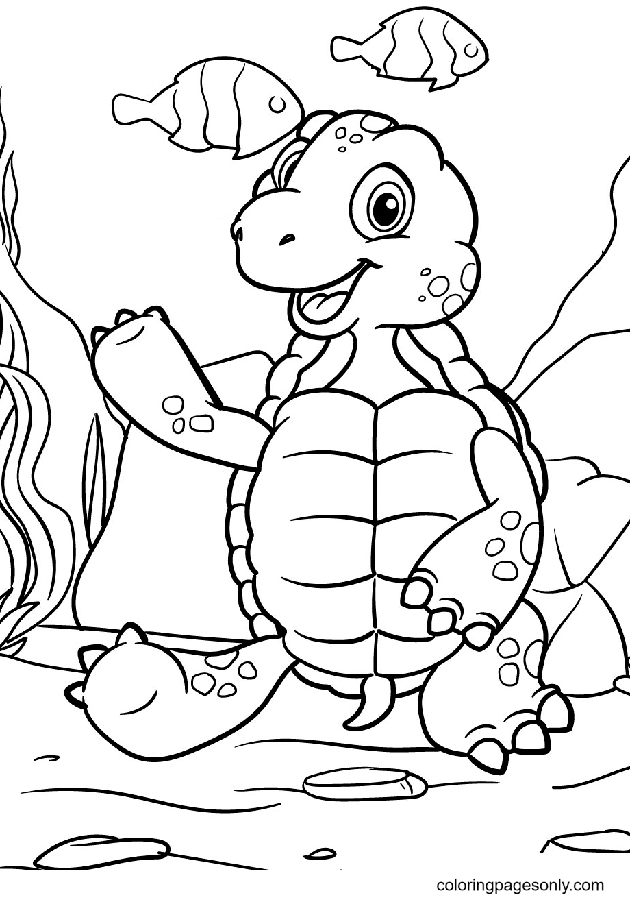 Turtle Happily Relaxing Coloring Page