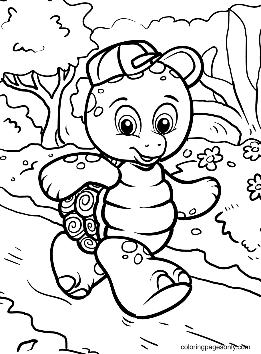 Turtle Jogging Coloring Page