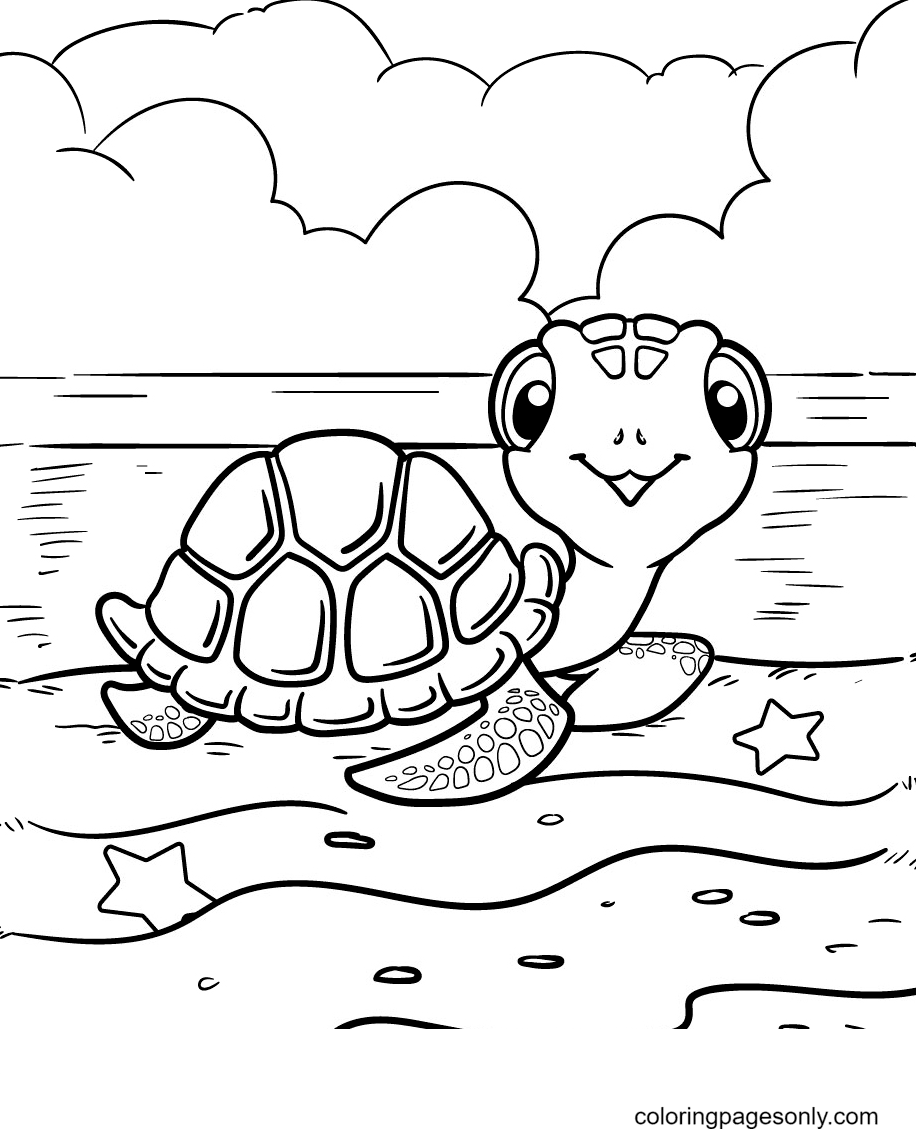 Turtle Lying On The Beach Coloring Page