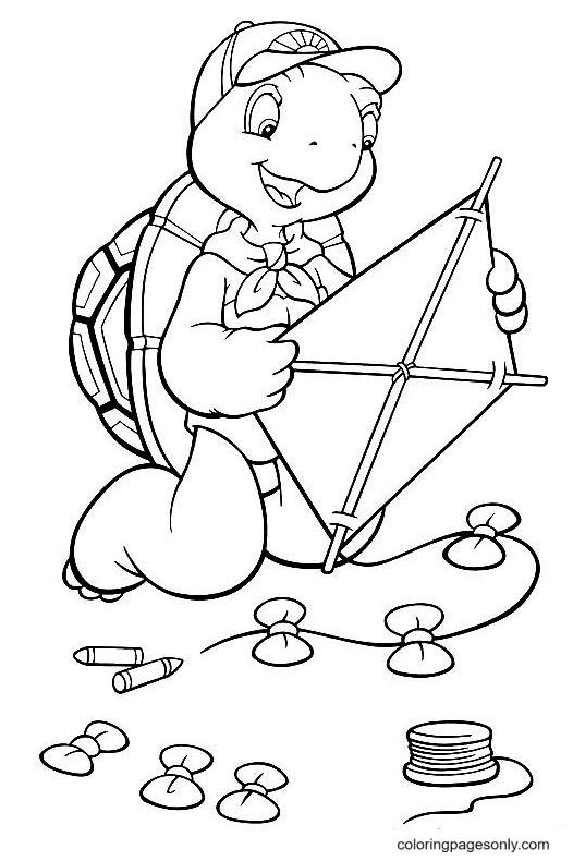 Turtle Making Kite Coloring Page